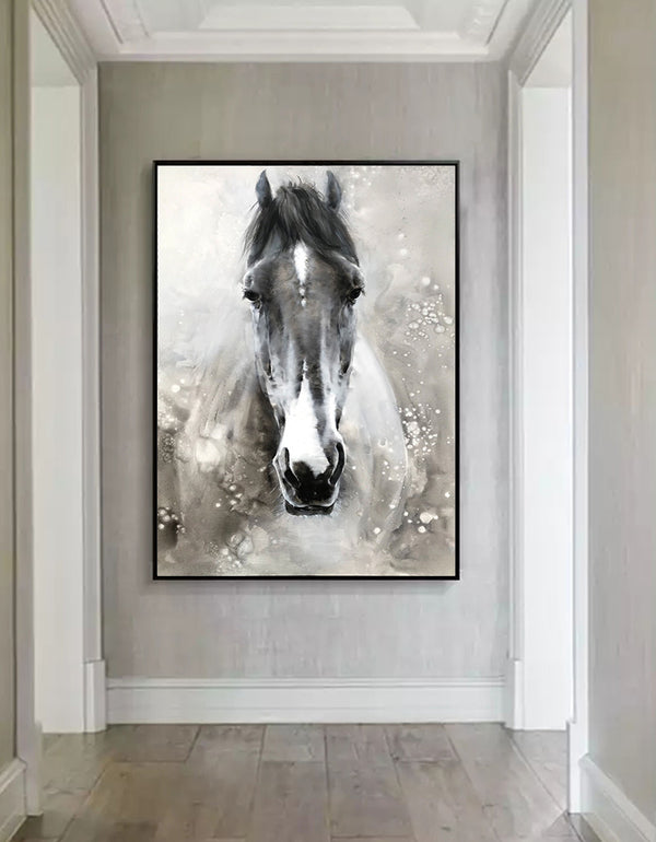 Horse Paintings On Canvas Equine Art Large Horse Wall Art Horse Acrylic Painting