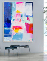 Large Colorful Abstract Wall Art Bright Acrylic Paintings Colorful Canvas Art