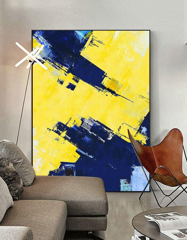 Original Texture Palette Blue Yellow Abstract Oil Painting On Canvas Abstract Painting With Palette Knife