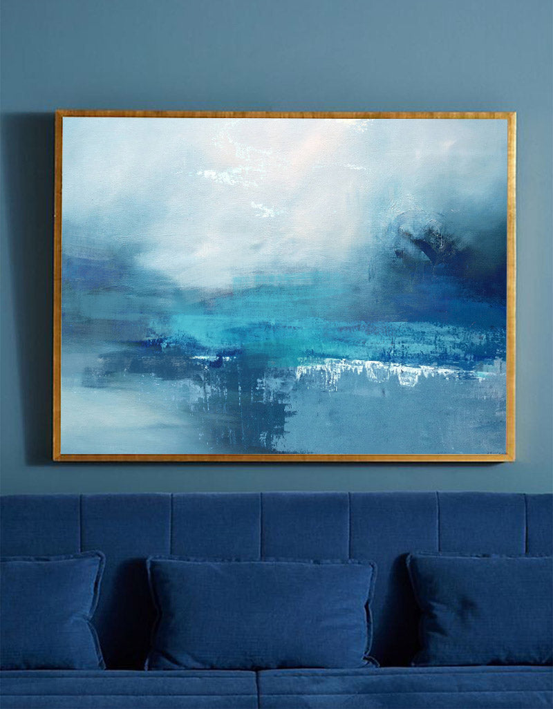Abstract Ocean Painting Large Coastal Wall Art Blue Seascape Oil Painting