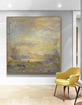 Yellow Abstract Painting Square Modern Canvas Art Extra Large Artwork