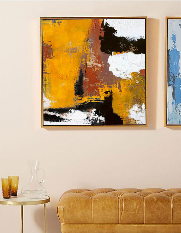 Heavy Texture Orange Abstract Art On Canvas Palette Knife Painting