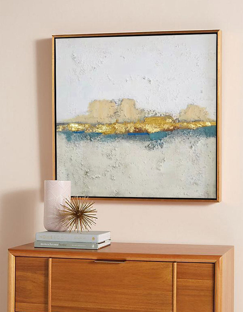 White And Gold Wall Art Square Modern Landscape Painting