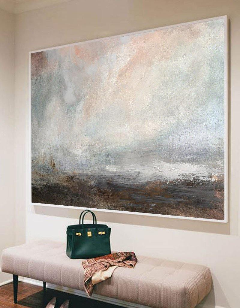 Large Beach Painting On Canvas Horizontal Coastal Wall Art Impressionist Seascape Paintings