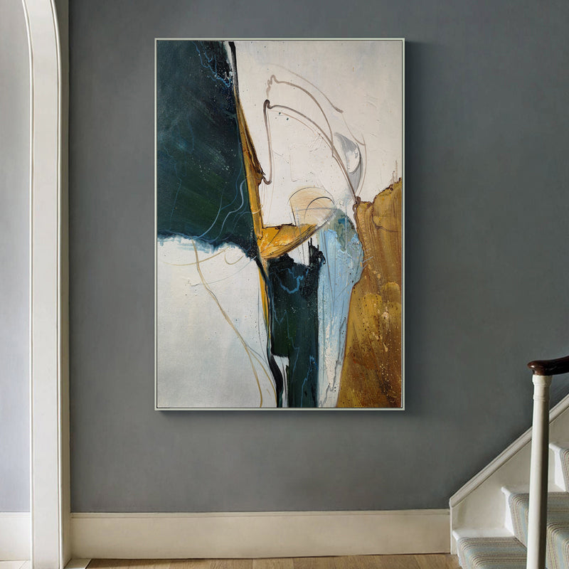 Green Gold Painting Abstract Extra Large Oil Painting Canvas Big Wall Art