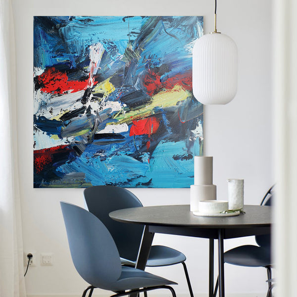 40 x 40 Square Multicolor Wall Art Colorful Contemporary Abstract Painting