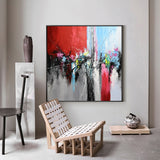 Square Abstract Art Modern Canvas Wall Art Living Room Canvas Art