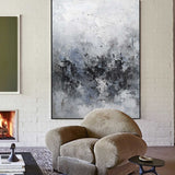 36x48 Gray And Blue Wall Art Textured Abstract Painting