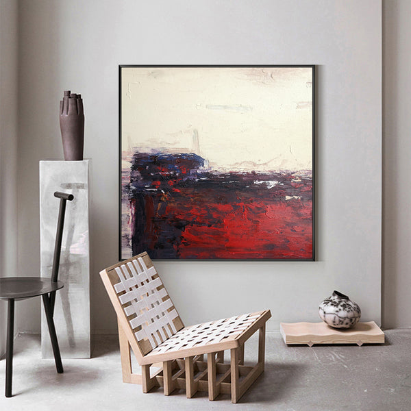 40 x40 Square Acrylic Abstract Landscape Painting Red And Beige Abstract Art