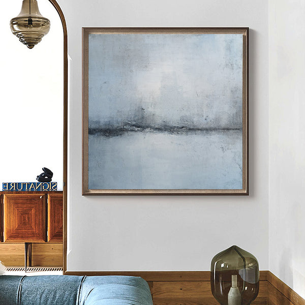 40 x 40 Square Abstract Beach Painting Light Blue Abstract Wall Art