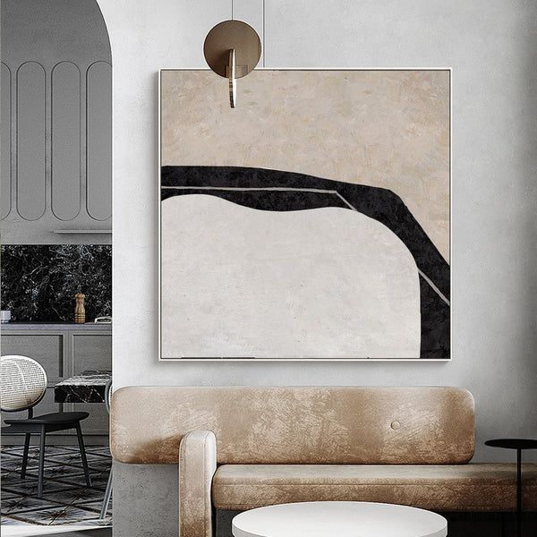 Modern Minimal Wall art large Contemporary Wall art Black Beige White Art