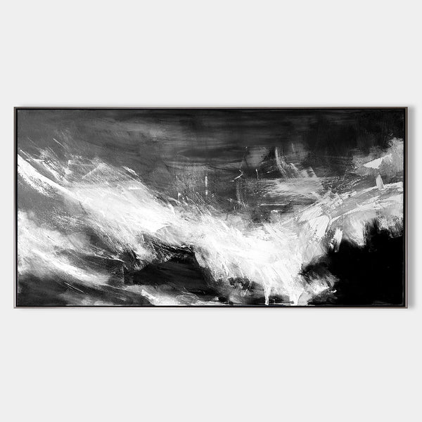 Large Black White Abstract Painting Big Canvas Art For Living Room