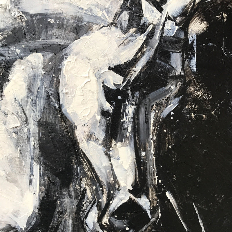 Running Horses Painting Black And White Horse Art Large Horse Wall Art