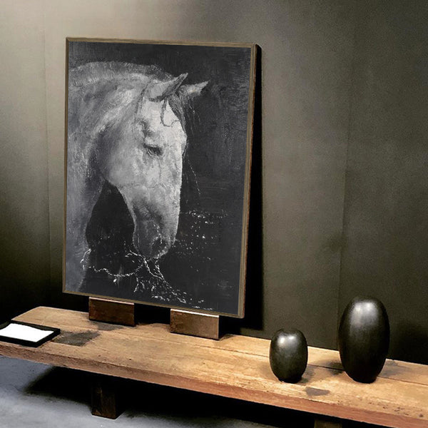 Abstract Black And White Horse Art Large Horse Canvas Art Modern Horse Paintings For Sale