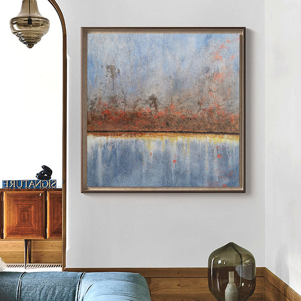 Square Light Blue And Rust Abstract Wall Art Seascape Canvas Painting For Bedroom
