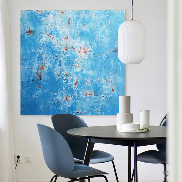 40 x 40 Light Blue And Rust Wall Art Original Canvas Painting For Sale
