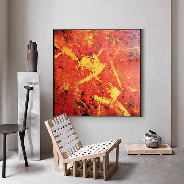 40 x 40 Square Red Canvas Wall Art Modern Abstract Acrylic Painting