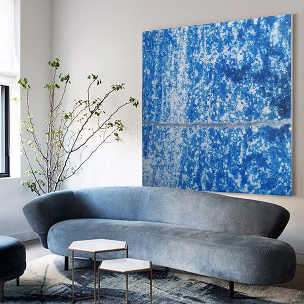 40 x 40 Blue Abstract Art Modern Abstract Painting BLue And White