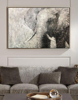 Elephant Painting Large Elephant Wall Art Elephant Gray Paint On Canvas