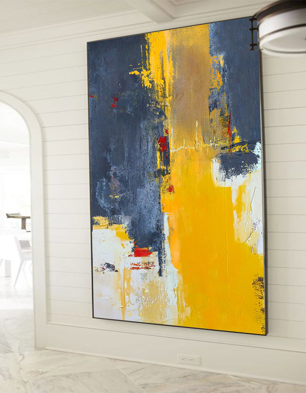 Orange Abstract Painting Large Modern Wall Art Yellow Abstract Art