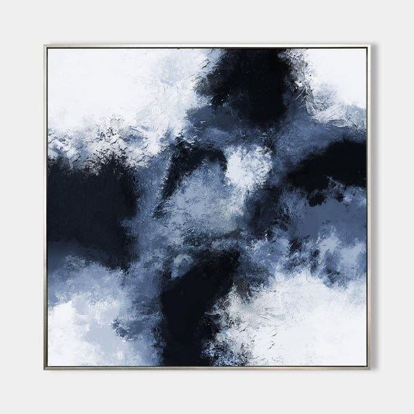 Textured Blue And Black Abstract Painting Dark Blue Wall Art Oversized Wall Art