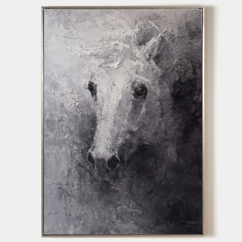 Black White Abstract Horse Painting Original Animal Painting horse Portrait Painting