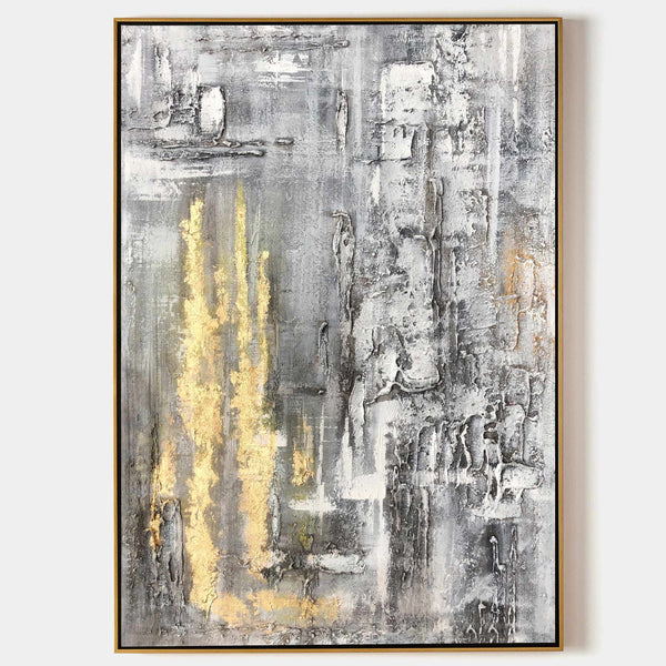 Abstract Gold Wall Art Grey And Gold Wall Art Huge Vertical Wall Art