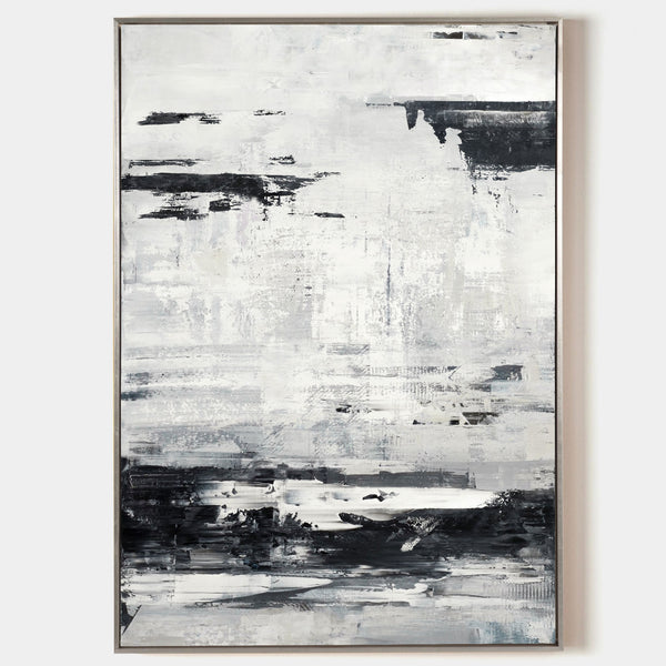 Large Black And White Beach Canvas Wall Art Abstract Ocean Painting