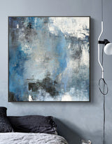 Oversize Blue Abstract Canvas Art Original Abstract Paintings For Sale
