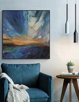 Framed Coastal Wall Art Large Modern Coastal Wall Art Oversized Ocean Landscape Painting