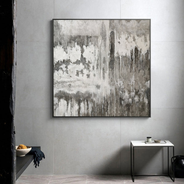 40 x 40 Grey And White Abstract Art Square Gray Bedroom Wall Decor