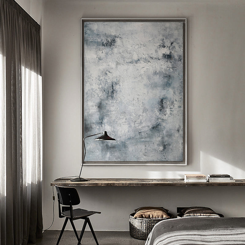 Contemporary Seascape Paintings Coastal Wall Art Canvas Grey Abstract Art 36 x 48 Vertical