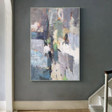 Large Textured Acrylic Painting On Canvas Impressionism Abstract Framed Art