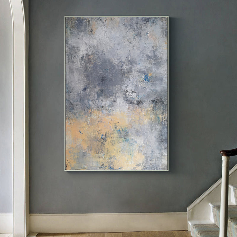 36 x 48 Grey And Yellow Canvas Art Acrylic Abstract Landscape Painting