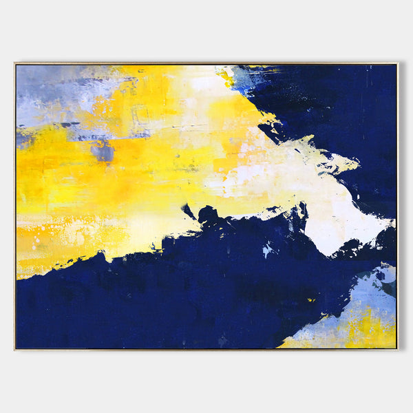 Bright Abstract Painting Blue And Yellow Abstract Art Acrylic On Canvas