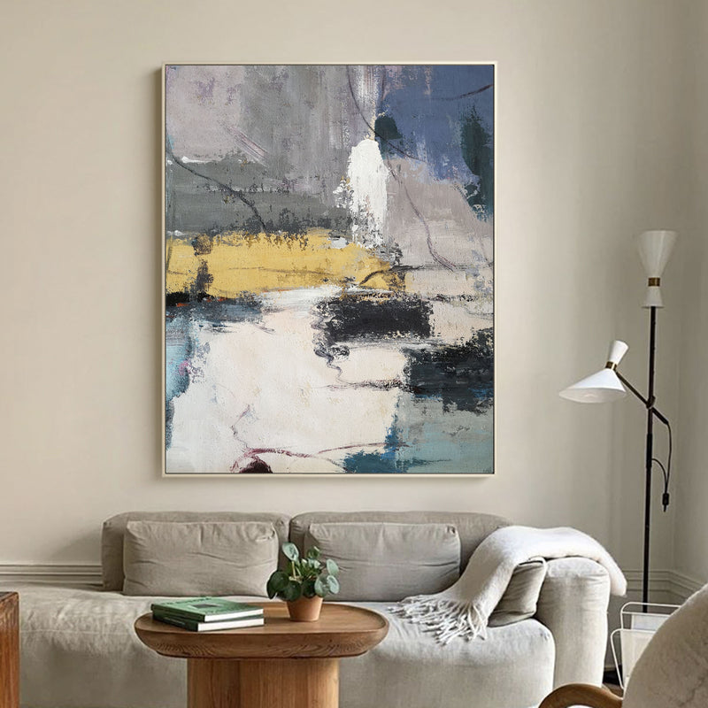 Large Abstract Canvas Art Blue And Yellow Abstract paintings On Canvas Abstract Landscape Painting Modern Paintings For Living Room