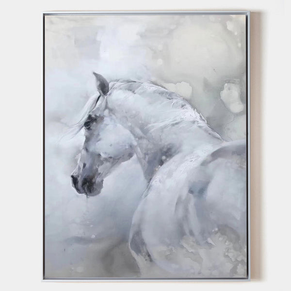 White Horse Painting Large Horse Canvas Wall Art Large Horse Canvas Art
