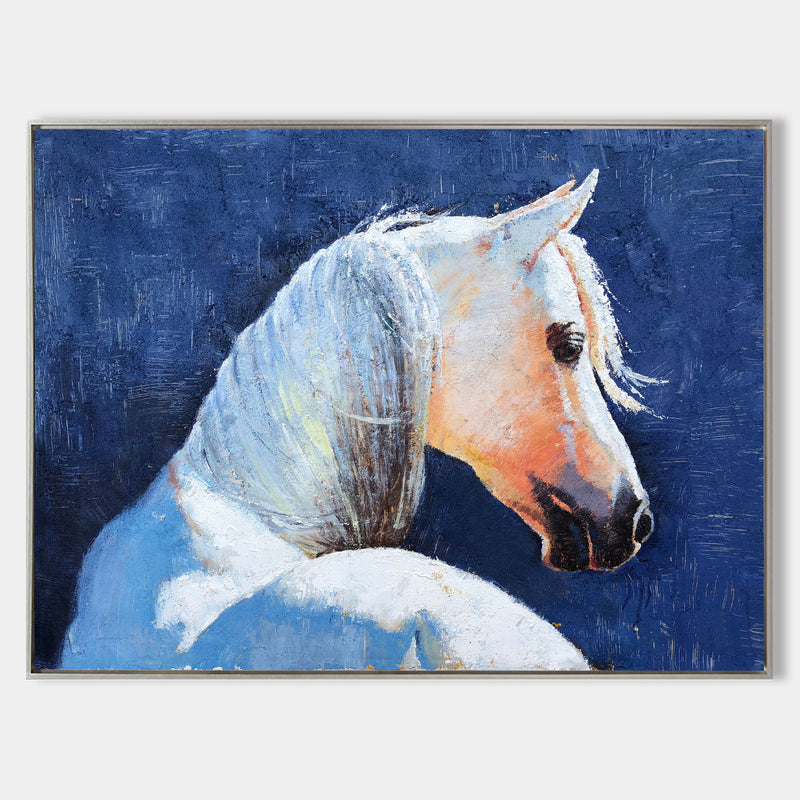 Famous Oil Paintings Of Horses White Horse Painting Framed Horse Wall Art