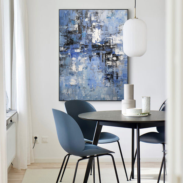 36 X 48 Vertical Blue Paintings For Bedroom Original Abstract Art