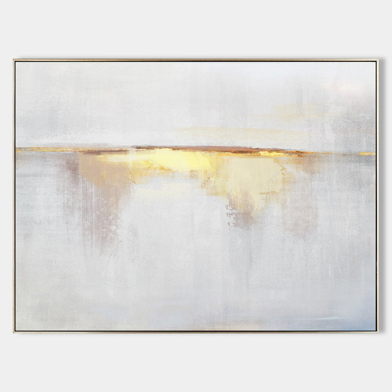 Impression Sunrise Painting On Canvas Abstract Beach Art Yellow White