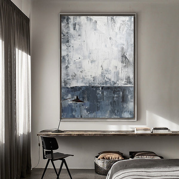 36 x 48 Vertical Blue White And Grey Wall Art Abstract Skyline Painting