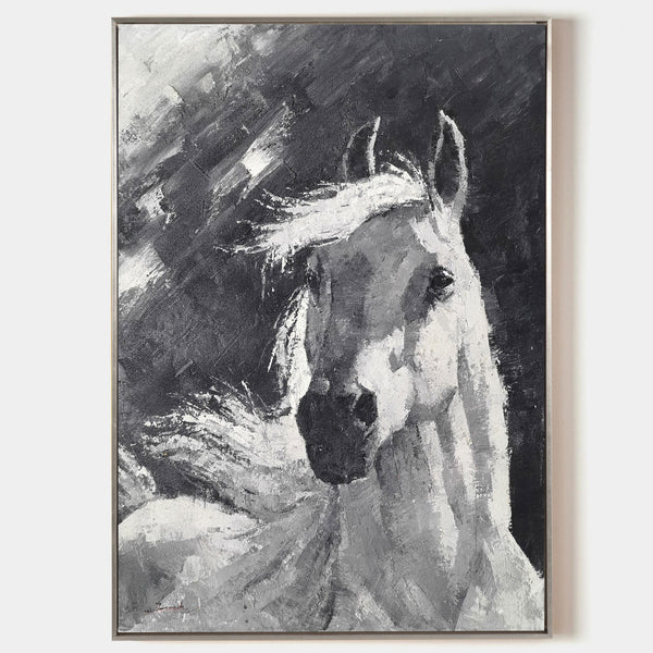 Black And White Horse Painting Abstract Horse Art Contemporary Horse Art