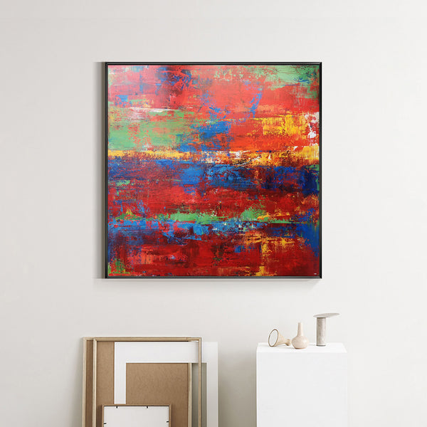 Red Abstract Canvas Wall Art 40 x 40 Canvas Painting For Living Room