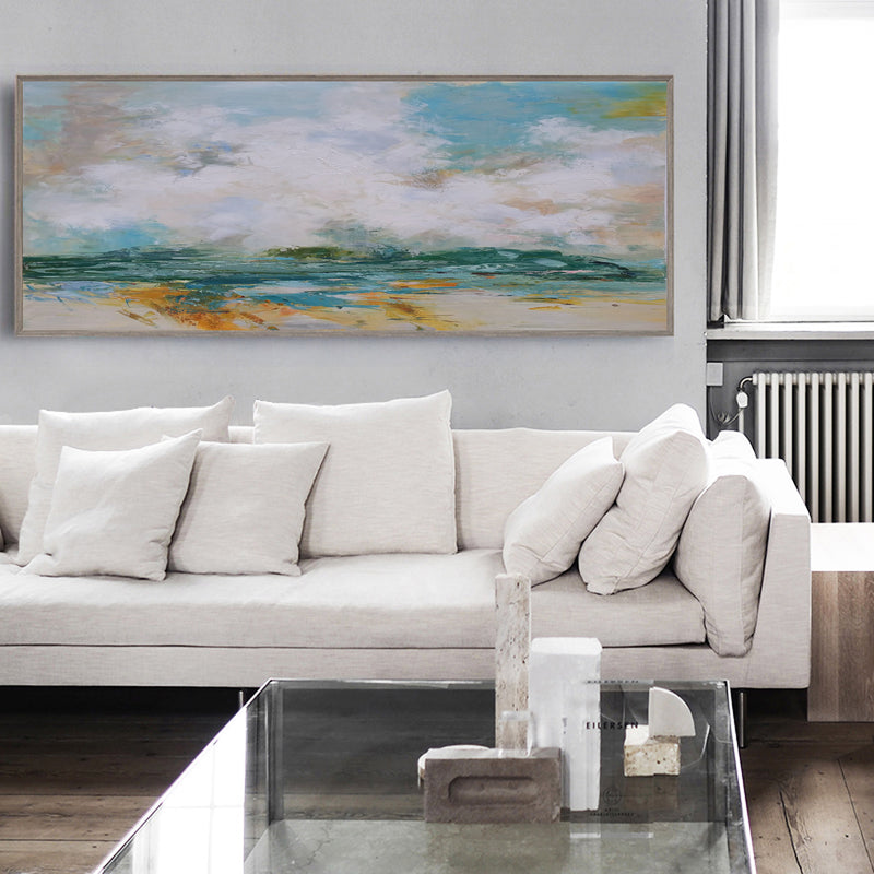 Large Impressionist Seascapes Beach Scene Painting On Canvas Panoramic Canvas Painting For Livingroom