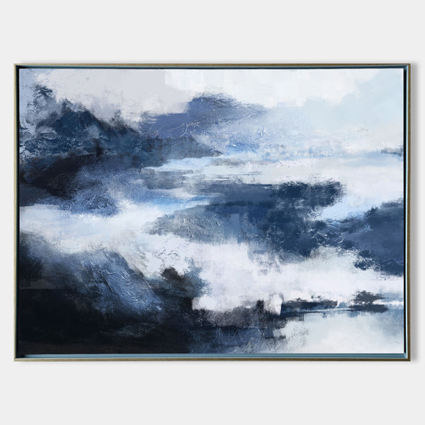 Blue Landscape Paintings Horizontal Abstract Black And Blue Wall Art