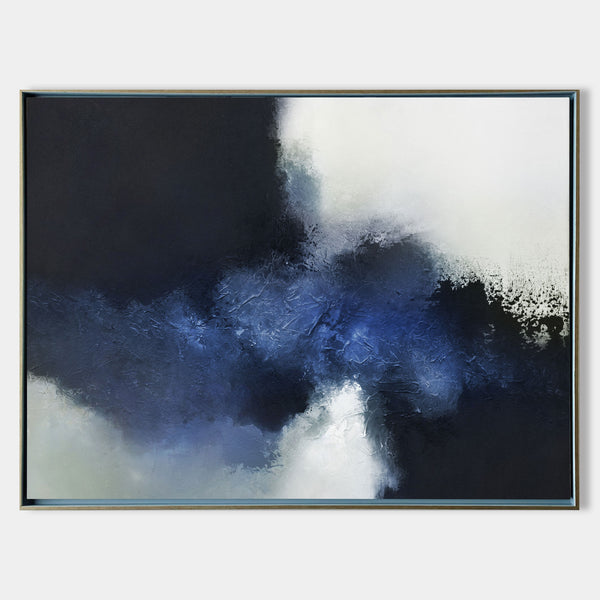 Large Black And Blue Wall Art Abstract Blue Art Modern Blue Art