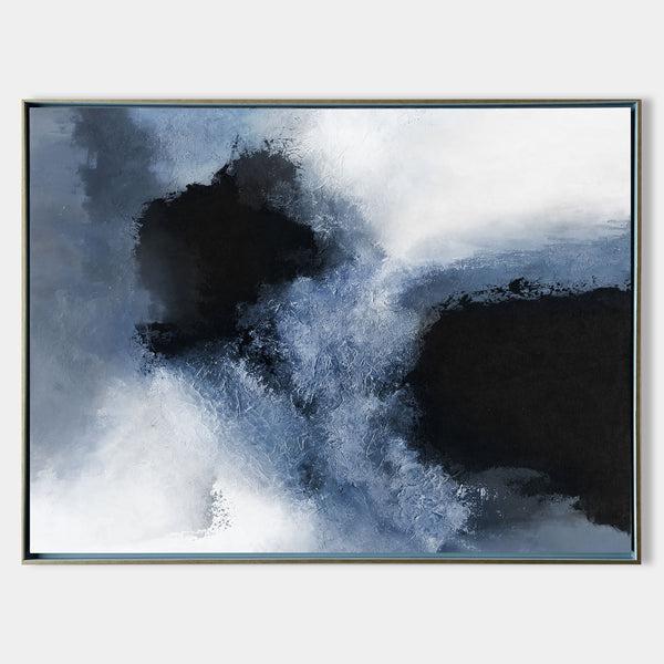 Large Painting Canvas Modern Abstract Art Cool Abstract Art Blue White Black