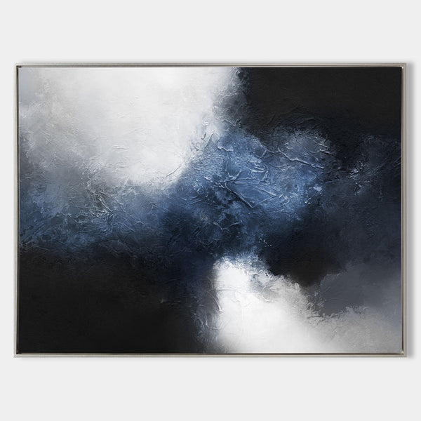 Large Abstract Dark Blue Painting Black And Blue Painting Textured Art