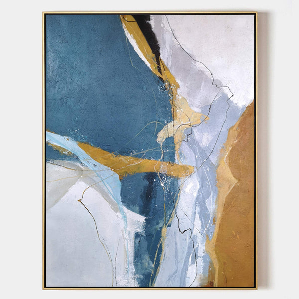 Large Vertical Blue Gold Wall Art Oversized Abstract Canvas Art For Living Room