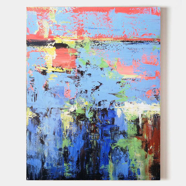 36 x 48 Colorful Abstract Beach Painting Vertical Acrylic Seascape Paintings